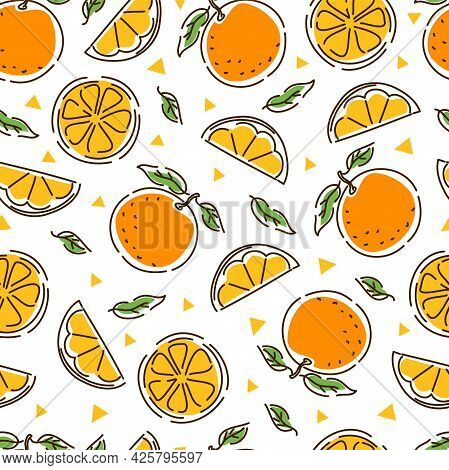 Juicy Tangerine Seamless Pattern. Slices And Leaves Of Tangerine. Geometry. Abstract Hand-drawn Back