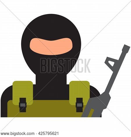 Terrorist Icon Vector Man Thief In Balaclava Mask On White