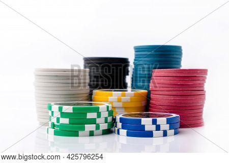 Chips For Casino Or Pile Of Gambling Tokens. Volumetric Heap Of Money Or Cash For Games Like Poker,