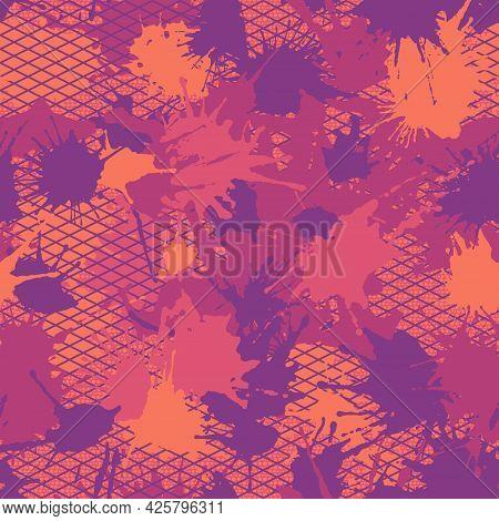 Grunge Urban Summer Camouflage, Modern Hawaii Fashion Design. Camo Aloha Pattern, Fashionable Fabric