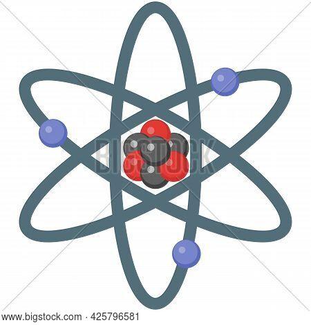 Atom Molecule Science Model Icon, Atomic Physics Vector