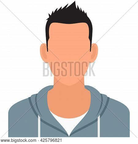 Young Man Student Faceless Avatar Icon Vector Isolated