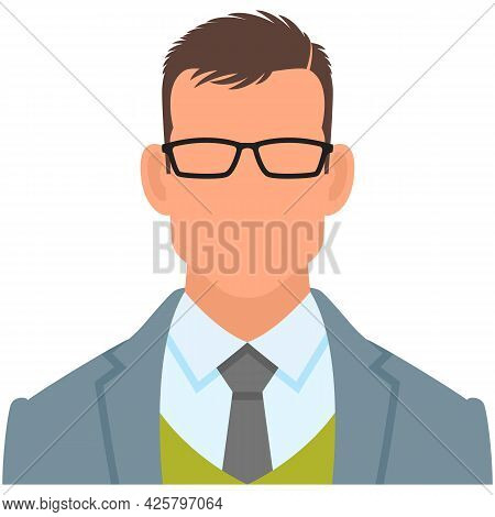 Man Office Worker Clerk Avatar Icon Vector Isolated On White