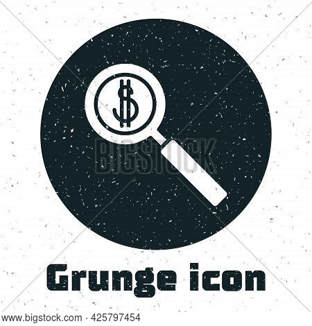 Grunge Magnifying Glass And Dollar Symbol Icon Isolated On White Background. Find Money. Looking For