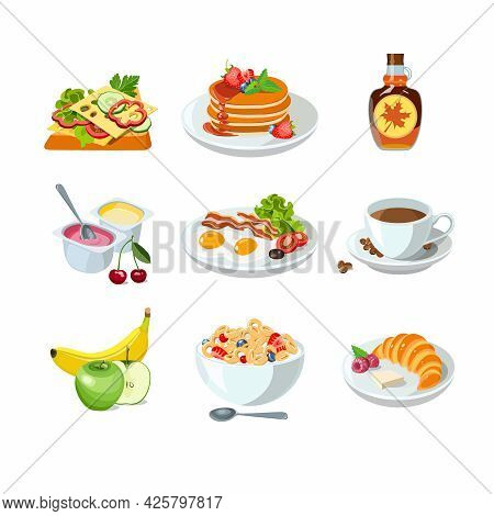 Classic Hotel Breakfast Set With Pancakes, Toast And Croissant, Coffee And Corn Flakes. Menu Poster