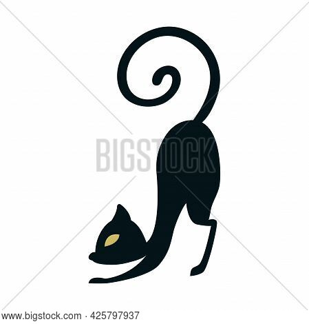 Black Silhouette Of A Cat Arching Its Back Before Jumping. Black Cat Outline Icon Isolated On White
