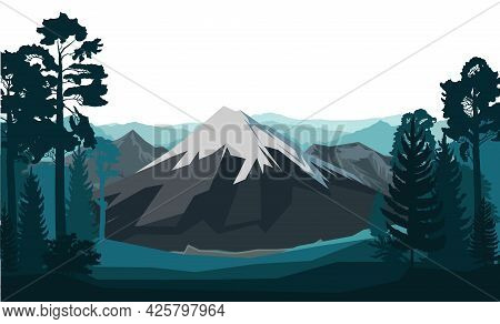 Mountain Landscape. The Haunted Forest. Coniferous And Deciduous Trees. Silhouette. Isolated On A Wh