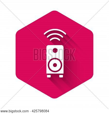White Smart Stereo Speaker System Icon Isolated With Long Shadow. Sound System Speakers. Internet Of