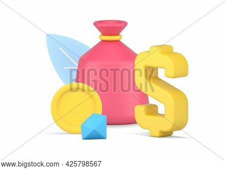 Money Bag With Gold Coin And Diamond. Pink Financial Package With Precious Yellow Metal Circle And D