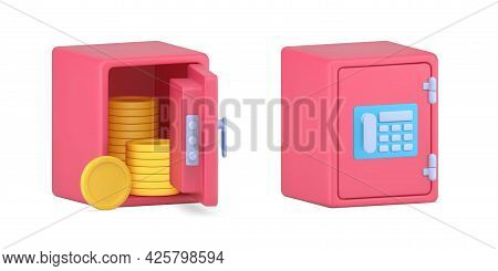 Volumetric Safe With Gold Coins. Closed And Open Pink Armored Box With Combination Lock