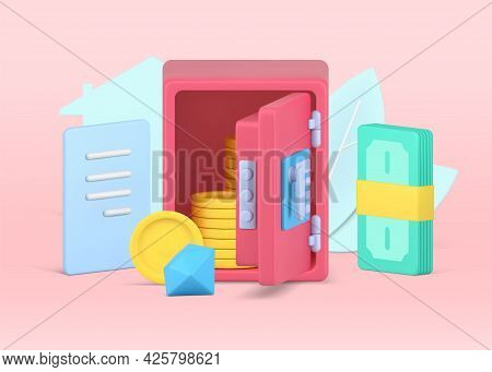 Secure Storage Finances In Safe. Pink Armored Box With Open Door And Gold Coins