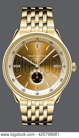 Realistic Golden Watch Clock Chronograph Design For Men Fashion On Grey Background Vector Illustrati