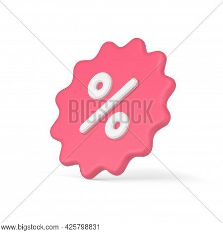 Volumetric 3d Sticker With Percentages. Stellate Price Tag Clearance Sale With Pink Discounts