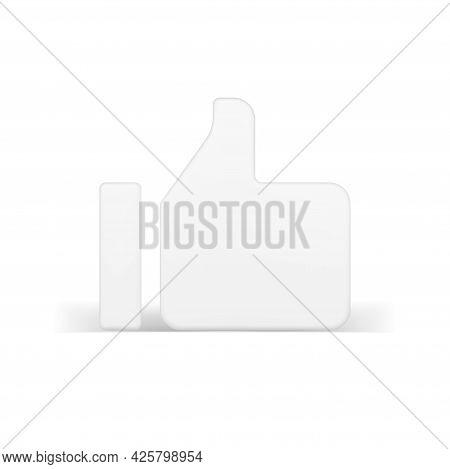 Web 3d Like White. Volumetric Approval Symbol In Simple Design