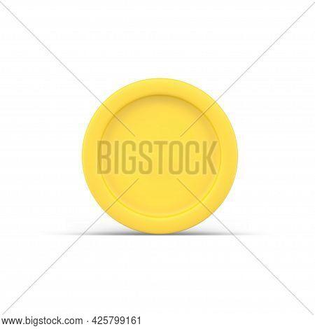 Gold 3d Coin. Simple Yellow Precious Metal Circle