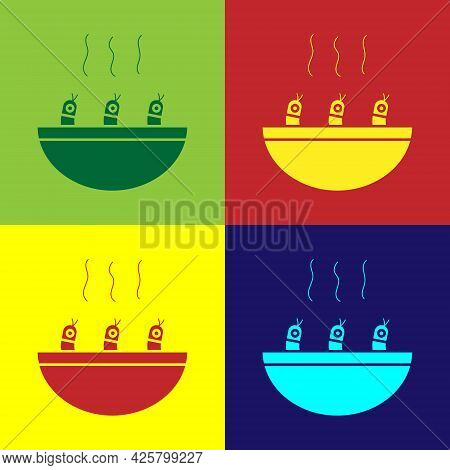 Pop Art Soup With Shrimps Icon Isolated On Color Background. Tom Yum Kung Soup. Vector.