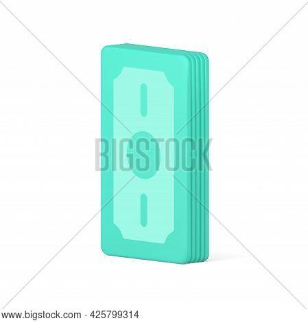 Bundle Of 3d Banknotes. Volumetric Green Realistic Cash