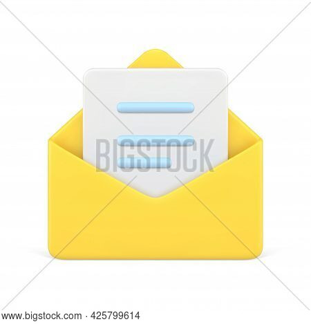 Document In Yellow 3d Envelope. White Volumetric Sheet Of Paper With Blue Text