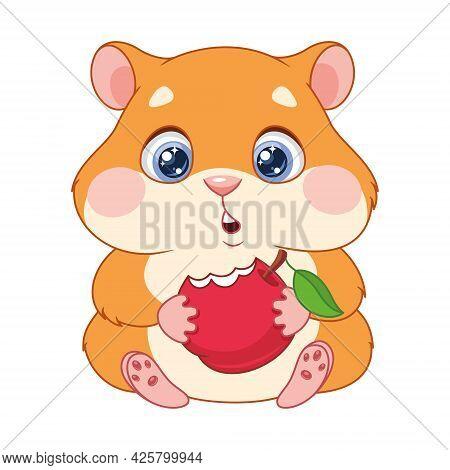Hungry Hamster Eating Apple, Cartoon Vector Illustration