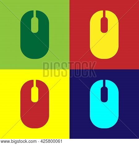 Pop Art Computer Mouse Icon Isolated On Color Background. Optical With Wheel Symbol. Vector