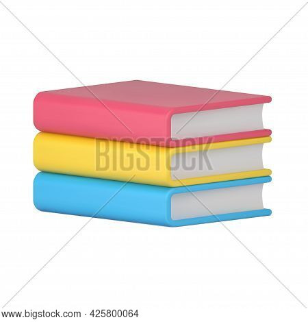Volumetric Stack Of Books. Yellow Realistic Volume Of Educational Literature