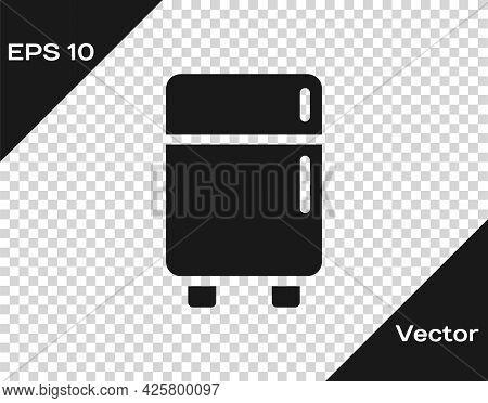Black Refrigerator Icon Isolated On Transparent Background. Fridge Freezer Refrigerator. Household T