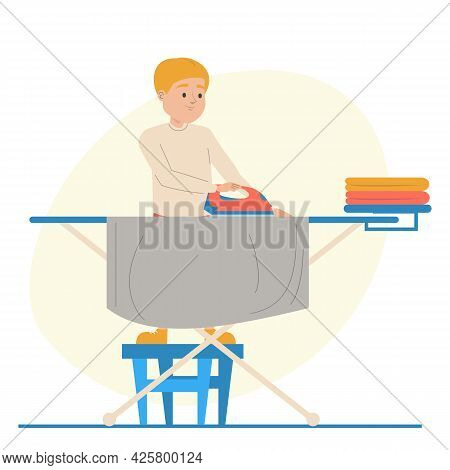 Boy Ironing Clothes. Kid Doing Domestic Routine