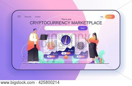 This Is Your Cryptocurrency Marketplace Concept For Landing Page. People Analyze Financial Statistic