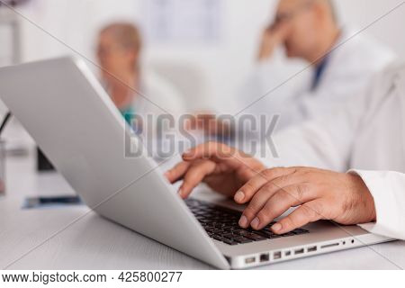 Close-up Of Therapist Doctor Hands Prescribing Pill Medication Treatment Typing Sickness Expertise O