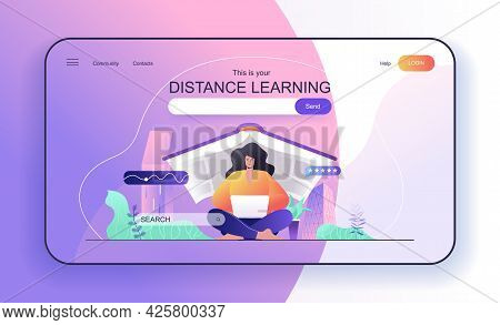 This Is Your Distance Learning Concept For Landing Page. Woman Student Studying At Laptop, Online Ed