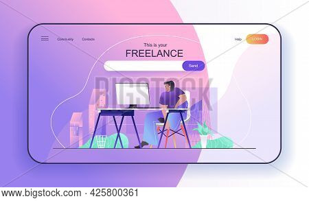 This Is Your Freelance Concept For Landing Page. Freelancer Works At Computer Sitting In Home Office