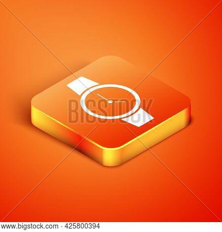 Isometric Wrist Watch Icon Isolated On Orange Background. Wristwatch Icon. Vector
