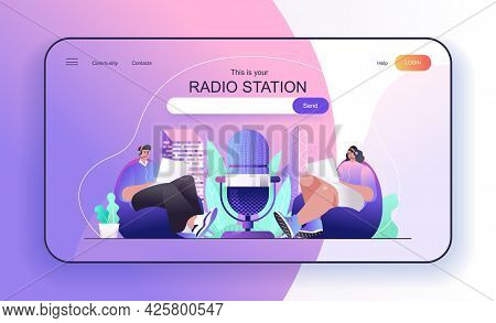 This Is Your Radio Station Concept For Landing Page. Hosts Radio Programs Broadcast Live Or Recordin