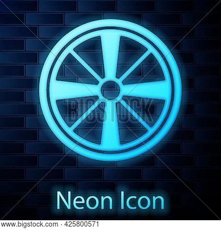 Glowing Neon Alloy Wheel For A Car Icon Isolated On Brick Wall Background. Vector