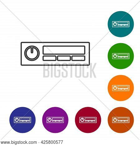 Black Line Car Audio Icon Isolated On White Background. Fm Radio Car Audio Icon. Set Icons In Color