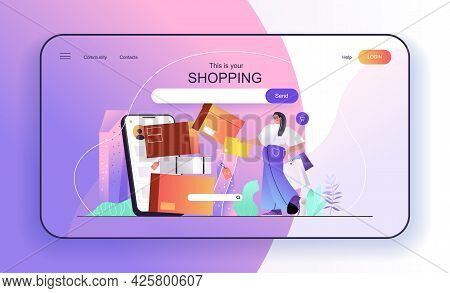 This Is Your Shopping Concept For Landing Page. Woman Buys Online, Shopper Makes Purchases And Recei