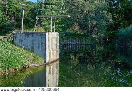 Jumping Tower In Small Lake In Kumla Sweden