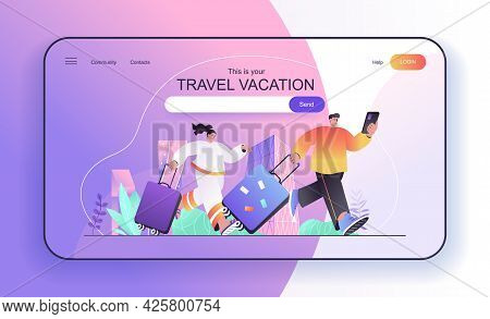 This Is Your Travel Vacation Concept For Landing Page. Couple With Suitcases Traveling, Travelers Wi