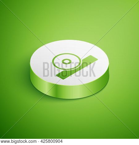 Isometric Otolaryngological Head Reflector Icon Isolated On Green Background. Equipment For Inspecti