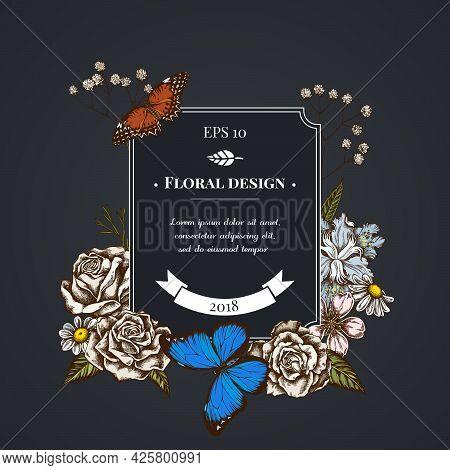 Dark Badge Design With Iris Japonica, Gypsophila, Chamomile, Almond, Menelaus Blue Morpho, Red Lacew
