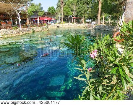 Cleopatra Pool With Termal Water At Pamukkale, Turkey.