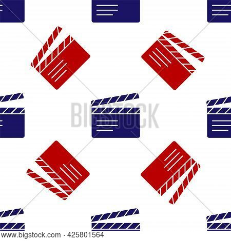 Blue And Red Movie Clapper Icon Isolated Seamless Pattern On White Background. Film Clapper Board. C