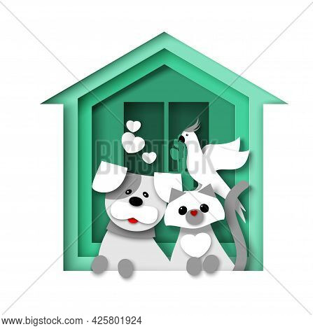 Green House With Dog, Cat And Parrot, Vector Illustration In Paper Art Style. Animal Shelter, Vet Cl