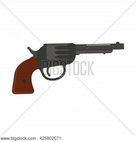 Isolated Revolver, Color Isolated Vector Illustration On A White Background.