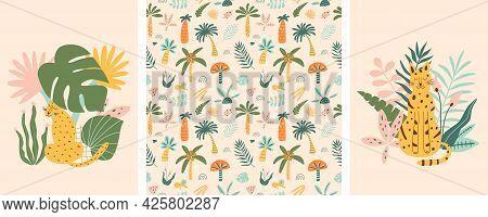 Jungle Animals And Tropic Palm Tree Set. Cute Leopard, Jaguar Safari Cartoon Animals, Exotic Leaves