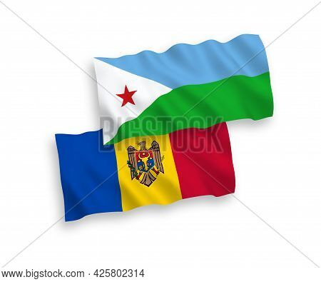 National Fabric Wave Flags Of Republic Of Djibouti And Moldova Isolated On White Background. 1 To 2