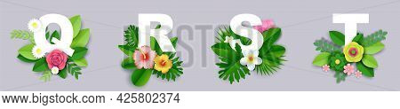 Floral Alphabet, Vector Paper Cut Illustration. Q, R, S, T English Capital Letters With Exotic Tropi