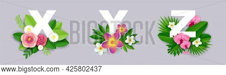 Floral Alphabet, Vector Paper Cut Illustration. X, Y, Z English Capital Letters With Exotic Tropical