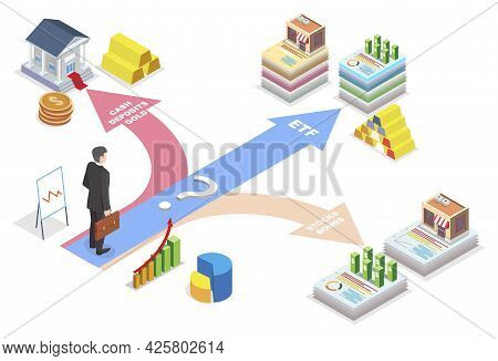 Businessman Making Choice From Financial Investment Types For Investing, Flat Vector Isometric Illus