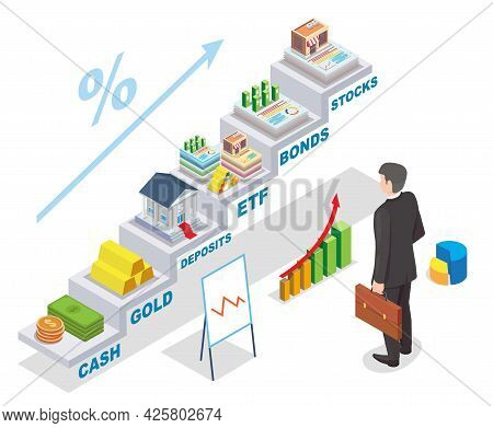 Investment Earnings Vector Isometric Illustration. Businessman Looking At Financial Investments Inco